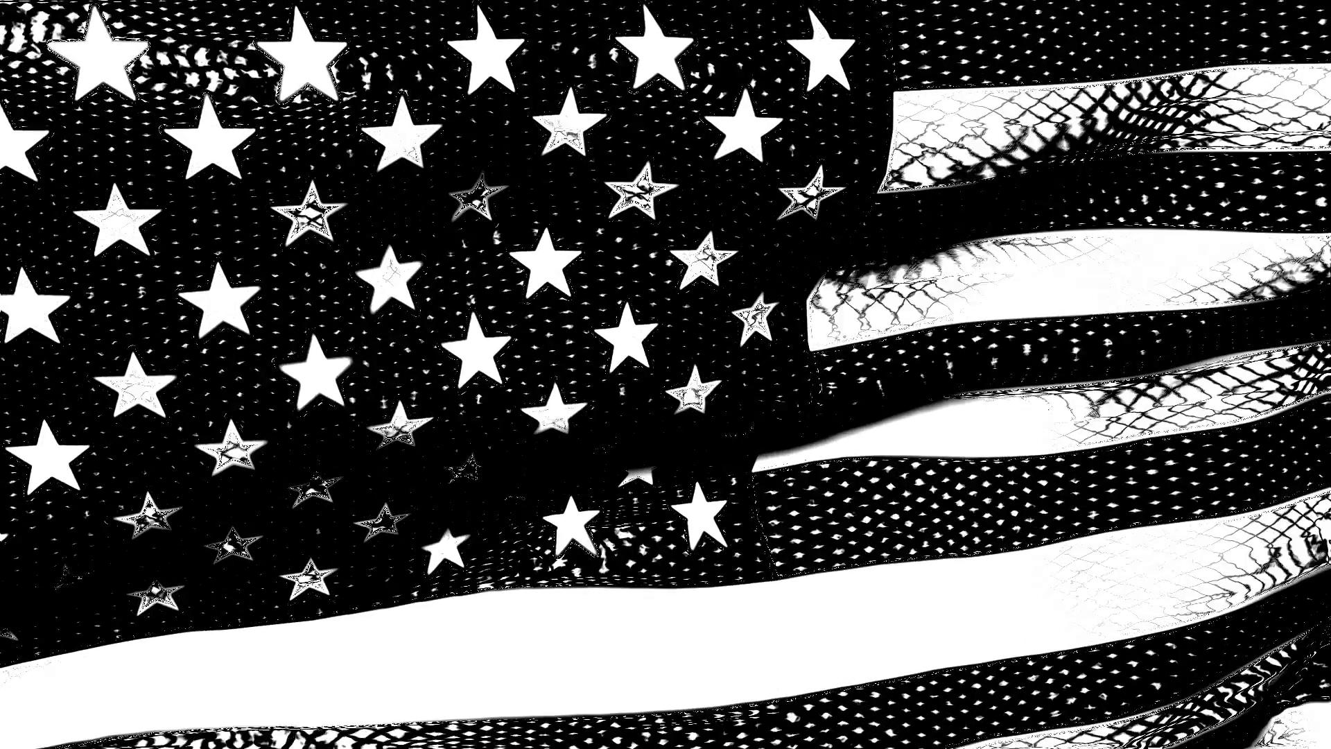 American Flag Black and White